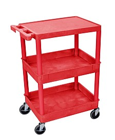 Offex Flat Top and Tub Middle- Bottom Shelf Cart Red