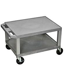 """Offex 16"""" Two Shelves AV Cart Nickel Legs, Gray OF-WT16GY-N"""