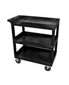"Clickhere2shop 32"" x 18"" Three-Tub Shelf Utility Cart with 5"" Casters - Black OF-EC111SP5-B"
