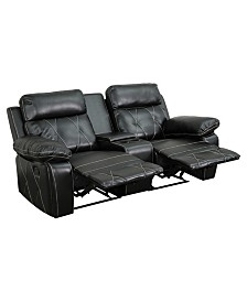 Offex 2-Seat Reclining Brown Leather Theater Seating Unit with Straight Cup Holders