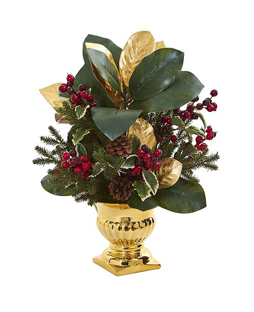 Nearly Natural 20-In. Magnolia Leaf and Holly Berry Artificial Arrangement in Gold Urn