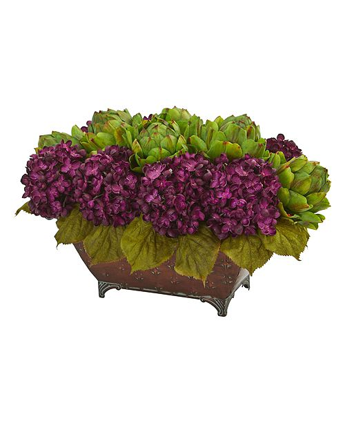 Nearly Natural Hydrangea and Artichokes Artificial Arrangement in Metal Planter