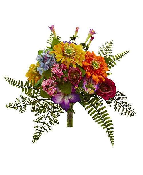 Nearly Natural 13-In. Mixed Flowers Artificial Bush, Set of 2