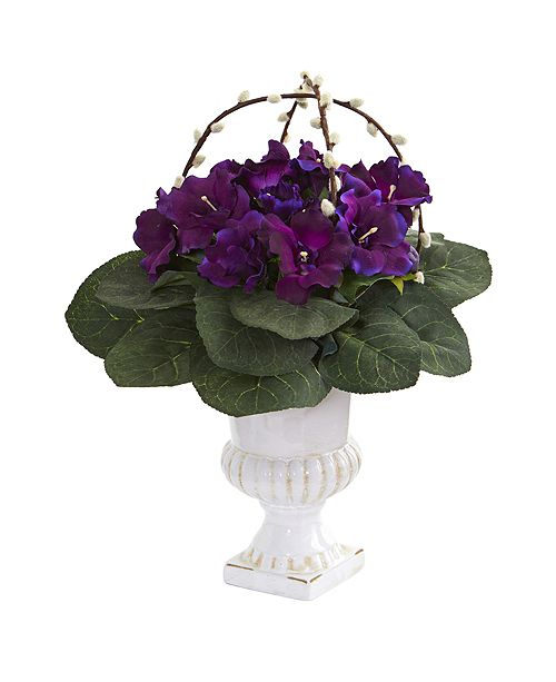 Nearly Natural Gloxinia Artificial Plant in White Urn