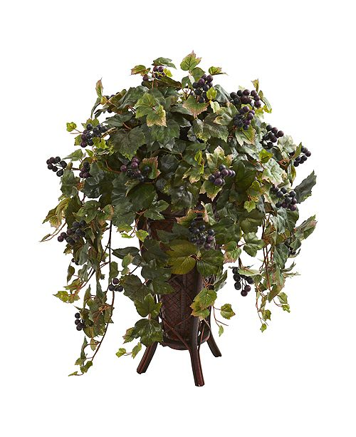 Nearly Natural Grape Leaf Artificial Plant in Stand Planter