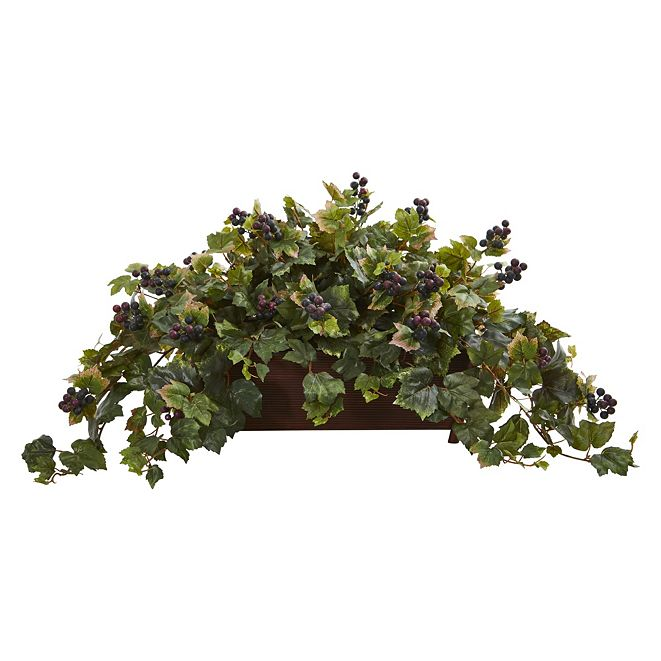Nearly Natural Grape Leaf Artificial Plant in Decorative Planter