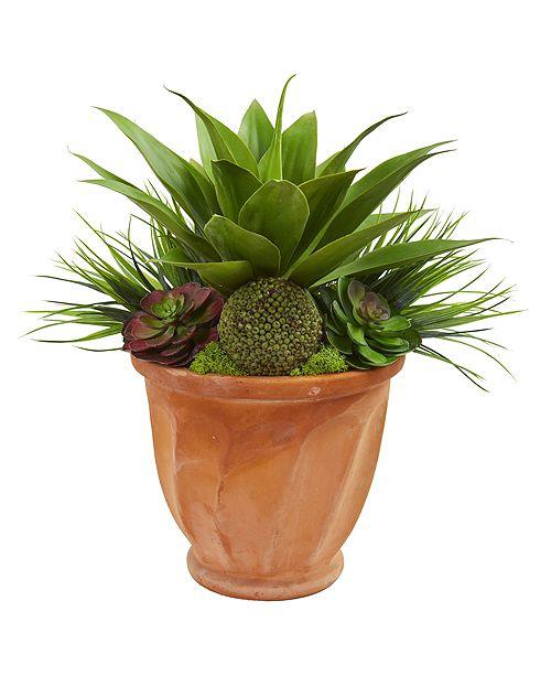 Nearly Natural Succulent Garden Artificial Plant in Terra Cotta Planter
