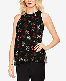 Vince Camuto Sleeveless Regal Stamp Floral Blouse