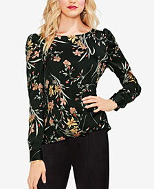 Vince Camuto Long-Sleeve Floral Puff-Sleeve Top