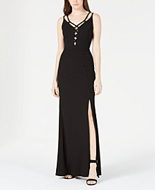 Speechless Juniors' Strappy Slit Gown