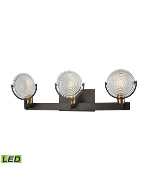 ELK Lighting Ocular 3 Light Vanity in Oil Rubbed Bronze with Satin Brass Accents and Clear Railroad Light Glass