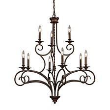 Gloucester 6+3 Light Chandelier in Antique Bronze