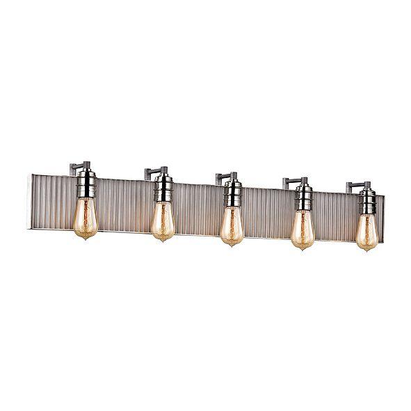 ELK Lighting Corrugated Steel 5 Light Vanity in Weathered Zinc and Polished Nickel