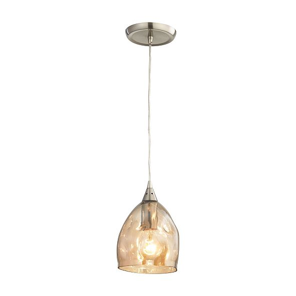 ELK Lighting Niche 1 Light Pendant in Satin Nickel and Champagne Plated Glass