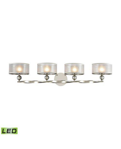ELK Lighting Corisande 4 Light Vanity in Polished Nickel with Silver Organza Shades