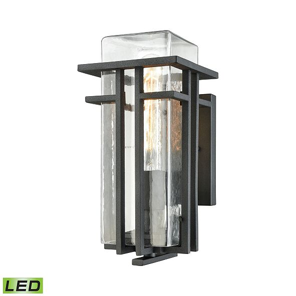 ELK Lighting Croftwell 1 Light Outdoor Wall Sconce in Textured Matte Black with Clear Glass