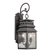Forged Lancaster Collection 2 light outdoor sconce in Charcoal