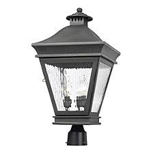Artistic Ltg-Post Lantern, Charcoal, Water Glass