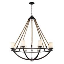 8 light chandelier in Aged Bronze