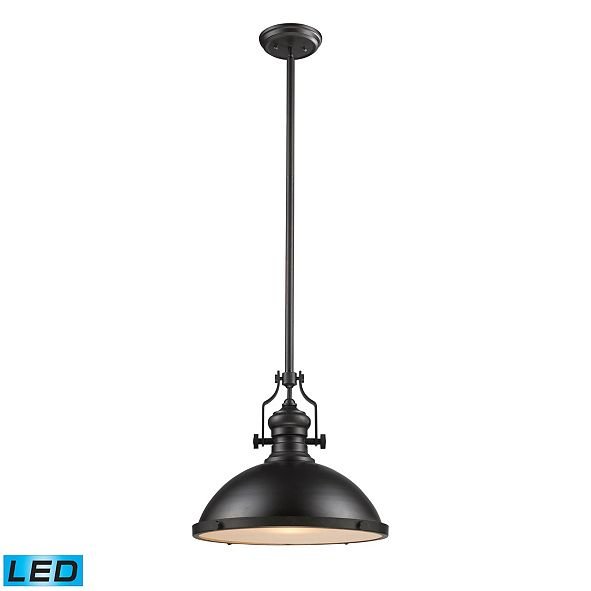 ELK Lighting Chadwick 1-Light Pendant in Oiled Bronze - LED Offering Up To 800 Lumens (60 Watt Equivalent) with F