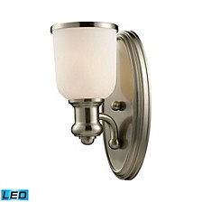 Brooksdale 1-Light Sconce in Satin Nickel - LED Offering Up To 800 Lumens (60 Watt Equivalent) With