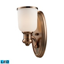 Brooksdale 1-Light Sconce in Antique Copper - LED Offering Up To 800 Lumens (60 Watt Equivalent) With