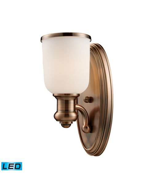 ELK Lighting Brooksdale 1-Light Sconce in Antique Copper - LED Offering Up To 800 Lumens (60 Watt Equivalent) With