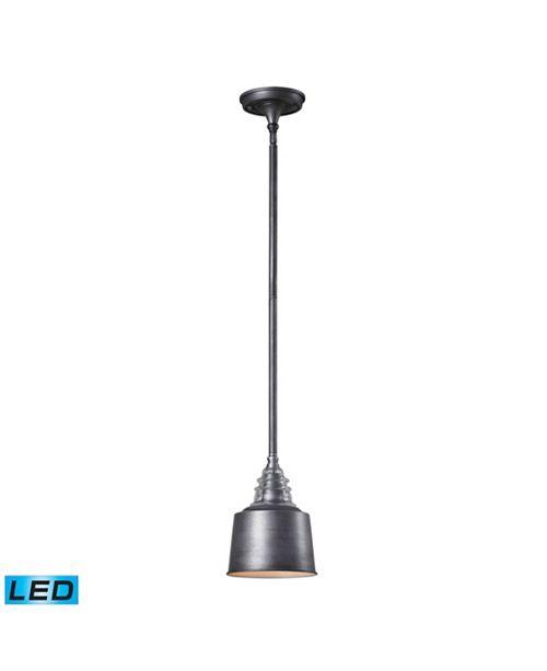 ELK Lighting Insulator Glass 1 Light Pendant in Weathered Zinc - LED Offering Up To 800 Lumens (60 Watt Equivalent)