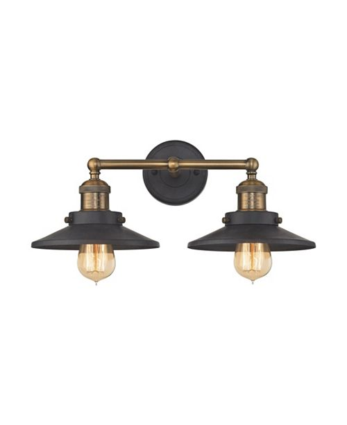 ELK Lighting English Pub 2 Light Vanity in Tarnished Graphite and Antique Brass