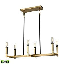 Mandeville 6 Light Chandelier in Satin Brass with Oil Rubbed Bronze Accents