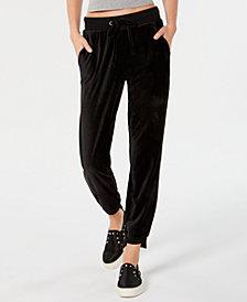 Material Girl Juniors' Step-Hem Velour Sweatpants, Created for Macy's