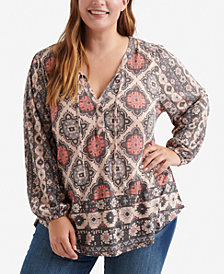 Lucky Brand Trendy Plus Size Tassel-Tie Top