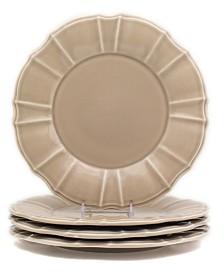 Euro Ceramica Chloe 4 Piece Taupe Dinner Plate Set