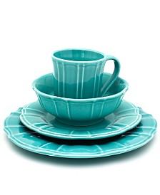 EuroCeramica Chloe 16 Piece Turquoise Dinnerware Set