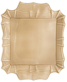 EuroCeramica Chloe Taupe Square Platter with Handles
