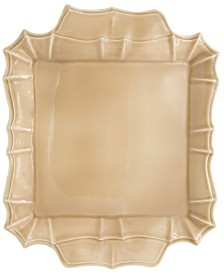 Euro Ceramica Chloe Taupe Square Platter with Handles