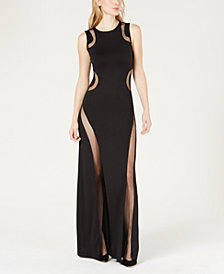 GUESS Sleeveless Mesh-Trim Maxi Dress