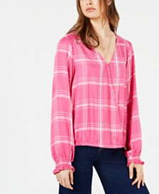 Sanctuary Cori Printed Surplice-Neck Blouse