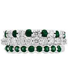 EFFY® 3-Piece Set Sapphire (9/10 ct. t.w.) & Diamond (9/10 ct. t.w.) Stackable Rings in 14k White Gold (Also Available in Emerald & Certified Ruby with 14k Rose Gold)