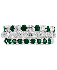 EFFY® 3-Piece Set Emerald (3/4 ct. t.w.) & Diamond (9/10 ct. t.w.) Stackable Rings in 14k White Gold (Also Available in Certified Ruby with 14k Rose Gold)