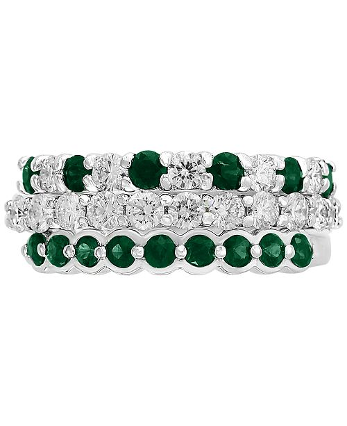 EFFY Collection EFFY® 3-Piece Set Emerald (3/4 ct. t.w.) & Diamond (9/10 ct. t.w.) Stackable Rings in 14k White Gold (Also Available in Certified Ruby with 14k Rose Gold)
