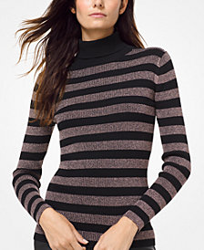 MICHAEL Michael Kors Metallic-Stripe Turtleneck Sweater, in Regular & Petite Sizes