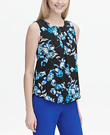 Calvin Klein Petite Floral-Print Pleat-Neck Top