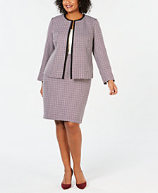 Le Suit Plus Size Open-Jacket Skirt Suit