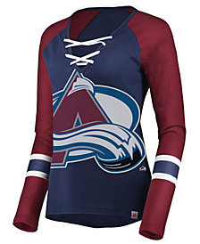 Majestic Women's Colorado Avalanche Lace Up Long Sleeve T-Shirt