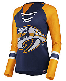Majestic Women's Nashville Predators Lace Up Long Sleeve T-Shirt