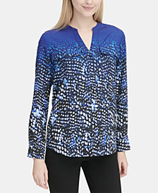 Calvin Klein Printed Top with Roll Sleeve