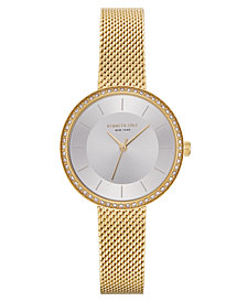 Kenneth Cole New York Ladies Gold Tone Mesh Bracelet Watch 32mm
