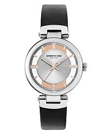 Kenneth Cole New York Ladies Transparent Black Leather Strap Watch 34mm