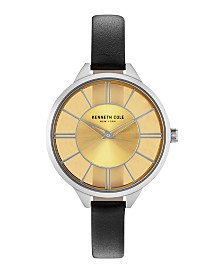 Kenneth Cole New York Ladies Transparent Black Leather Strap Watch 36mm